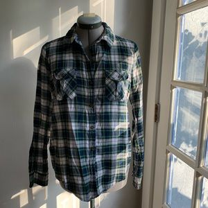 Forever 21 green & blue plaid button down, Sz M
